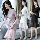 Embellished Bell-sleeve Lace Dress