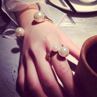 Faux Pearl Open Ring / Bangle