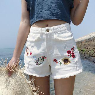 Embroidered Denim Shorts / Wide Leg Denim Shorts