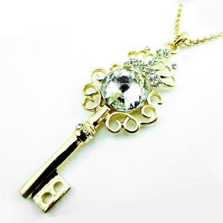 Crown And Key Necklace Gold - One Size
