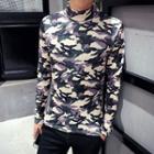 Camo Mock Neck Long-sleeve T-shirt