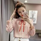 Striped Tie-neck Chiffon Shirt