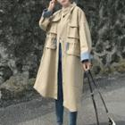 Pocketed Drawstring Buttoned Long Coat