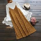 Side-slit Mushroom Pleat Printed Spaghetti Strap Dress