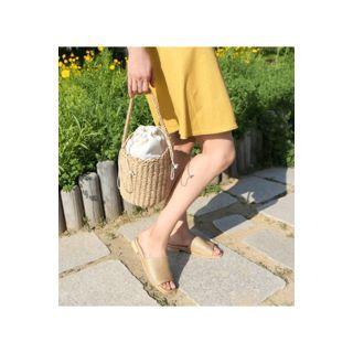 Woven Faux-leather Slide Sandals