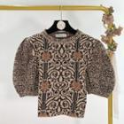 Pattern Print Puff-sleeve Knit Top