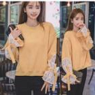 Lace Panel Tie-sleeve Pullover