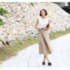 Wrap-front Linen Blend Midi Skirt