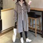Long Gingham Buttoned Coat