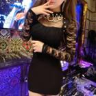 Lace Panel Mock-neck Mini Sheath Dress