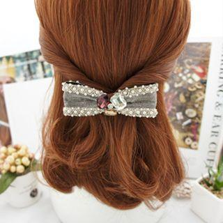 Faux Pearl Bow Hair Clip 01 - Gray - One Size