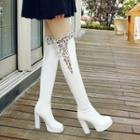Lace Trim Chunky Heel Over-the-knee Boots