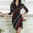 Long-sleeve Color Block Mini Sheath Dress