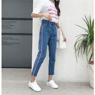 Cropped Ribbon-trim Jeans