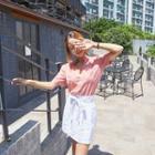 Tie-waist Linen Mini Skirt