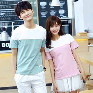 Couple Matching Color Panel Short Sleeve T-shirt