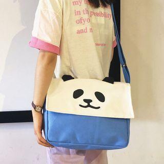 Panda Print Canvas Messenger Bag