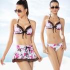 Set: Printed Bikini + A-line Skirt