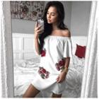 Floral Embroidered Off-shoulder Shift Dress