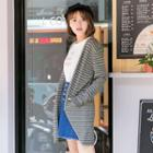 Stripe Hooded Long Cardigan