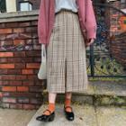 Slit-hem Plaid Skirt