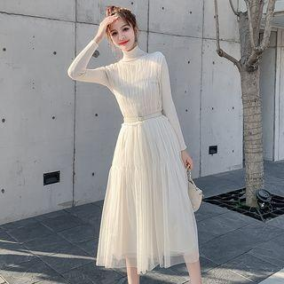 Set: Turtleneck Knit Top + Sleeveless Midi Mesh Dress + Belt