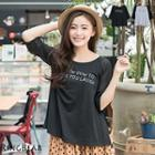 3/4 Sleeve Chiffon Panel Top