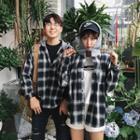 Couple Matching Plaid Hooded Shirt