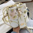 Floral Print Faux Leather Cylinder Bucket Bag