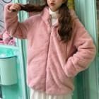 Ear Accent Hooded Zip Jacket Pink - One Size