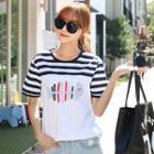 Fishbone Print Short-sleeve T-shirt