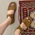 Ankle-strap Suedette Sandals