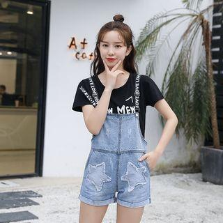 Lettering Strap Dungaree Shorts