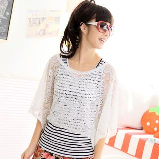 Set: Oversized Lace T-shirt + Tank Top White - One Size