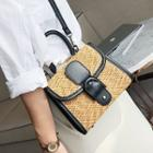 Buckled Straw Crossbody Bag