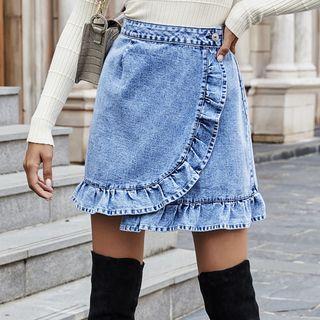 Denim Frill Trim Mini A-line Skirt