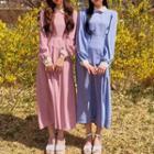 Collared Long Chiffon Dress