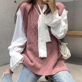 Cable Knit Sweater Vest / Blouse