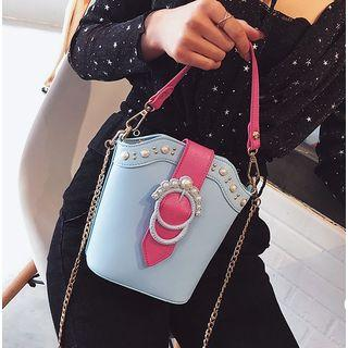 Faux Pearl Chain Strap Bucket Bag