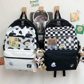 Checker Print Panel Backpack