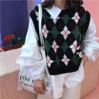 Argyle Pattern Mock Two-piece Sweater
