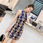 Sleeveless Patterned Mini Sheath Dress
