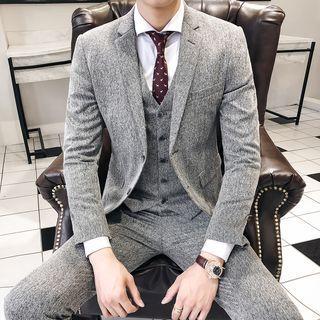 Suit Set: Melange Blazer + Vest + Dress Pants