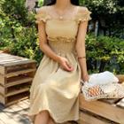 Smocked-waist Gingham Dress