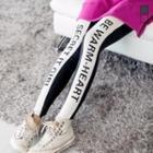 Contrast-trim Lettering Leggings