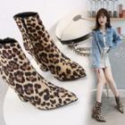 Leopard Pointed Block Heel Short Boots