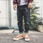 Distressed Paint Splattered Straight-cut Jeans