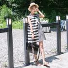 Sleeveless Striped Mini Shift Dress