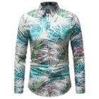 Long-sleeve Leaf-print Shirt