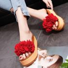 Flower Accent Platform Slide Sandals